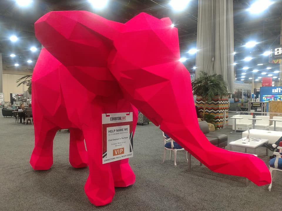 Brumark and ID3 Group created a large, three-dimensional elephant design element for EXHIBITOR<i>LIVE</i> 2018
