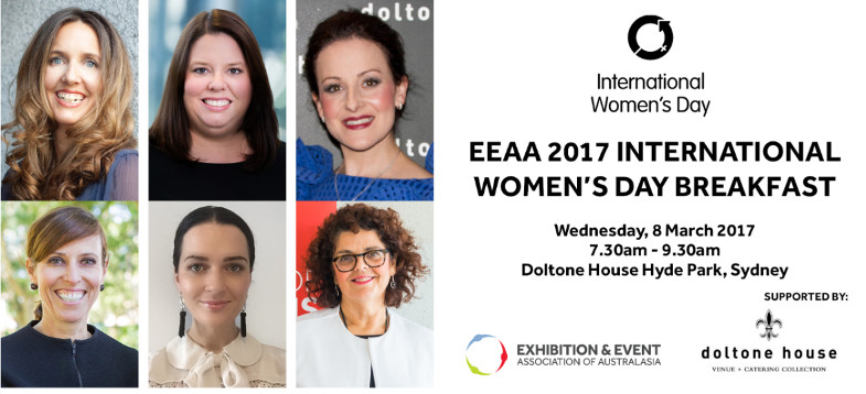 EEAA International Women's Day Speaker Line-up. Top L-R: Julia Erben, Event Director at Reed Exhibitions; Michelle Walter, Head of Partnerships, Community and Events at Qantas; Anna Cesarano, CEO at Doltone House. Bottom L-R: Penny Lion, Executive General Manager Events at Tourism Australia; Sarah Pohlman, General Manager – Events, Life & Events at Fairfax Media; and Joyce DiMascio, Chief Executive at EEAA.